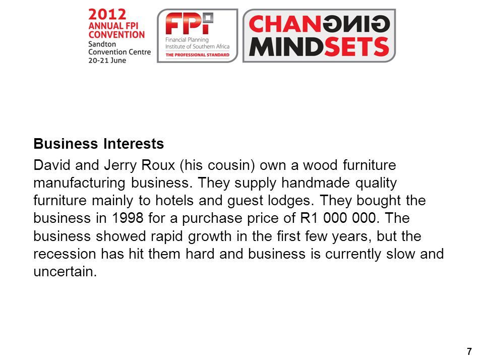 7 Business Interests David and Jerry Roux (his cousin) own a wood furniture manufacturing business.