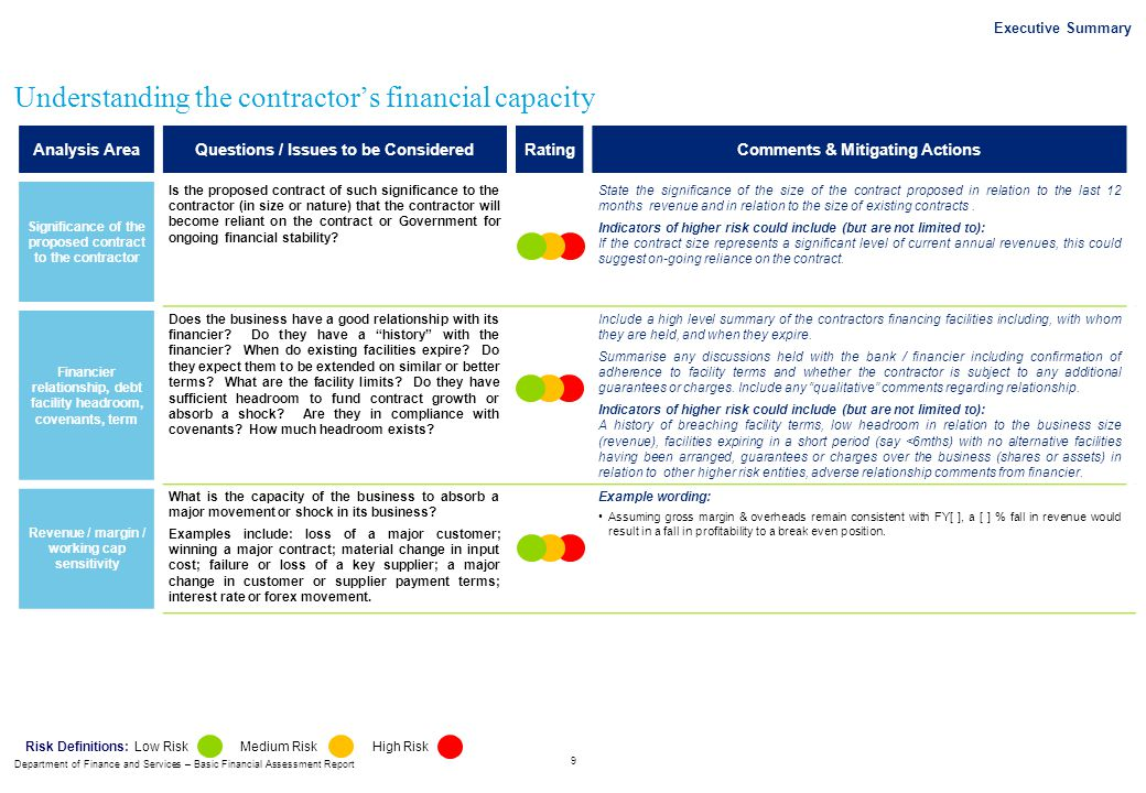 Department of Finance and Services – Basic Financial Assessment Report Executive Summary 9 Understanding the contractor's financial capacity Analysis