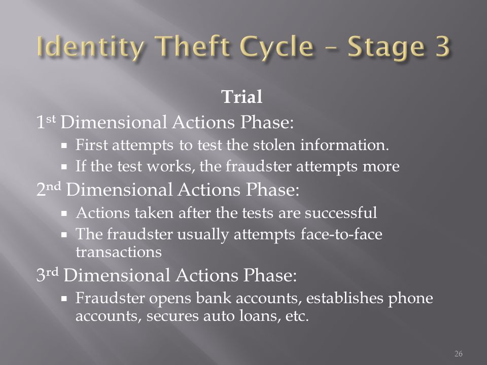 Trial 1 st Dimensional Actions Phase:  First attempts to test the stolen information.  If the test works, the fraudster attempts more 2 nd Dimension