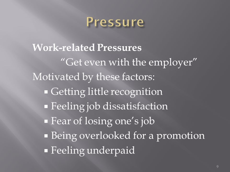 "Work-related Pressures ""Get even with the employer"" Motivated by these factors:  Getting little recognition  Feeling job dissatisfaction  Fear of l"