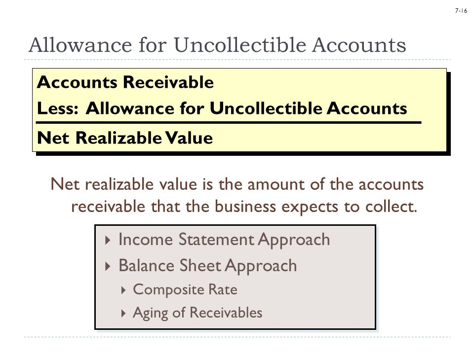 7-16 Allowance for Uncollectible Accounts Net realizable value is the amount of the accounts receivable that the business expects to collect. Accounts