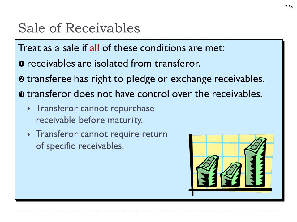 7-36 Sale of Receivables Treat as a sale if all of these conditions are met:  receivables are isolated from transferor.  transferee has right to ple