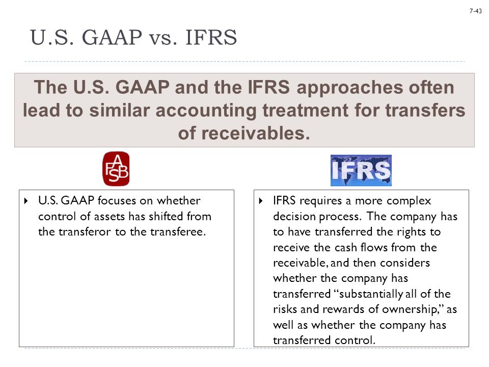 7-43 U.S. GAAP vs. IFRS  U.S. GAAP focuses on whether control of assets has shifted from the transferor to the transferee. The U.S. GAAP and the IFRS