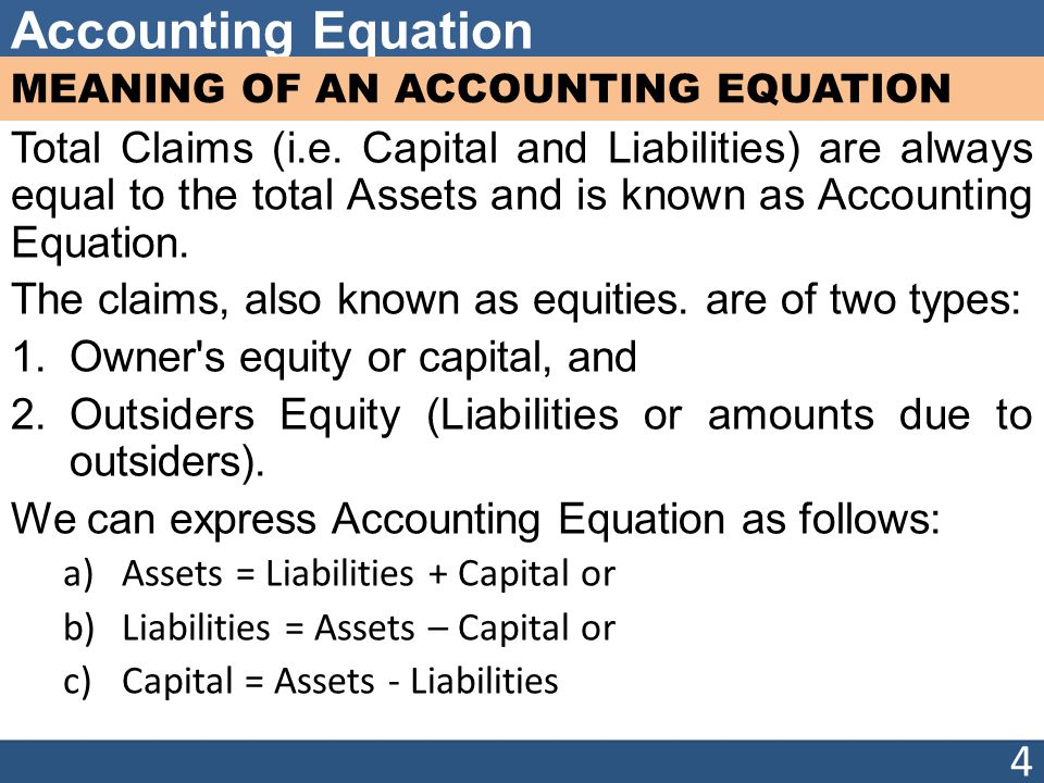 Accounting Equation MEANING OF AN ACCOUNTING EQUATION Total Claims (i.e.