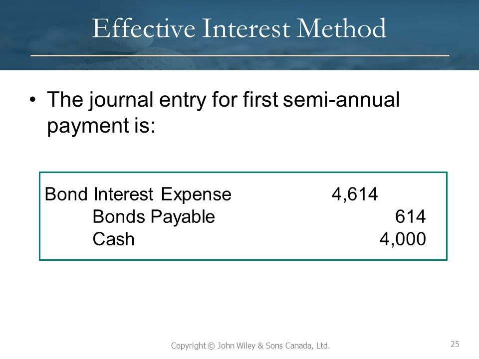25 Copyright © John Wiley & Sons Canada, Ltd. Effective Interest Method The journal entry for first semi-annual payment is: 25 Bond Interest Expense4,