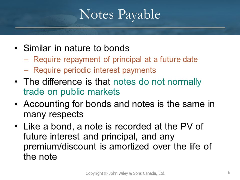 6 Copyright © John Wiley & Sons Canada, Ltd. Notes Payable Similar in nature to bonds –Require repayment of principal at a future date –Require period