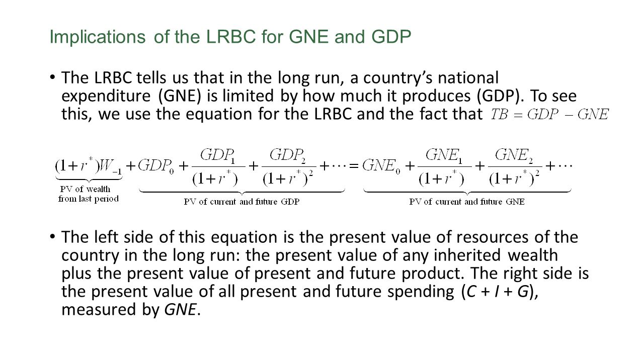 The Limits on Borrowing The long-run budget constraint says that in the long run, in present value terms, a country's expenditures (GNE) must equal its production (GDP) plus any initial wealth.