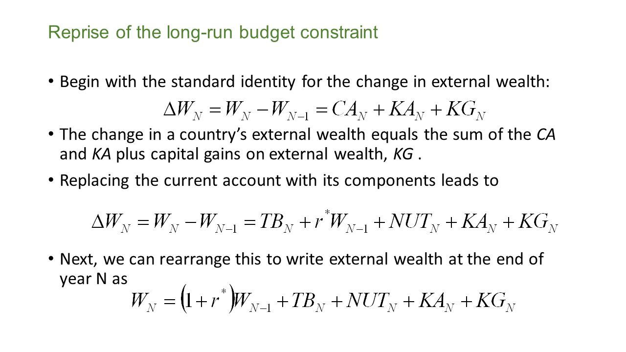 To keep the algebra simple, for the time being, we will assume that We find a relationship between external wealth this year and future year's trade balances, TB, by repeatedly adding equations like this to get Reprise of the long-run budget constraint