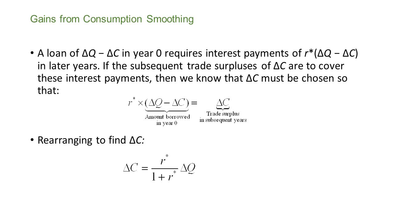 Smoothing Consumption when a Shock Is Permanent With a permanent shock, output will be lower by ΔQ in all years, so the only way either a closed or open economy can satisfy the LRBC while keeping consumption smooth is to cut consumption by ΔC= ΔQ in all years.