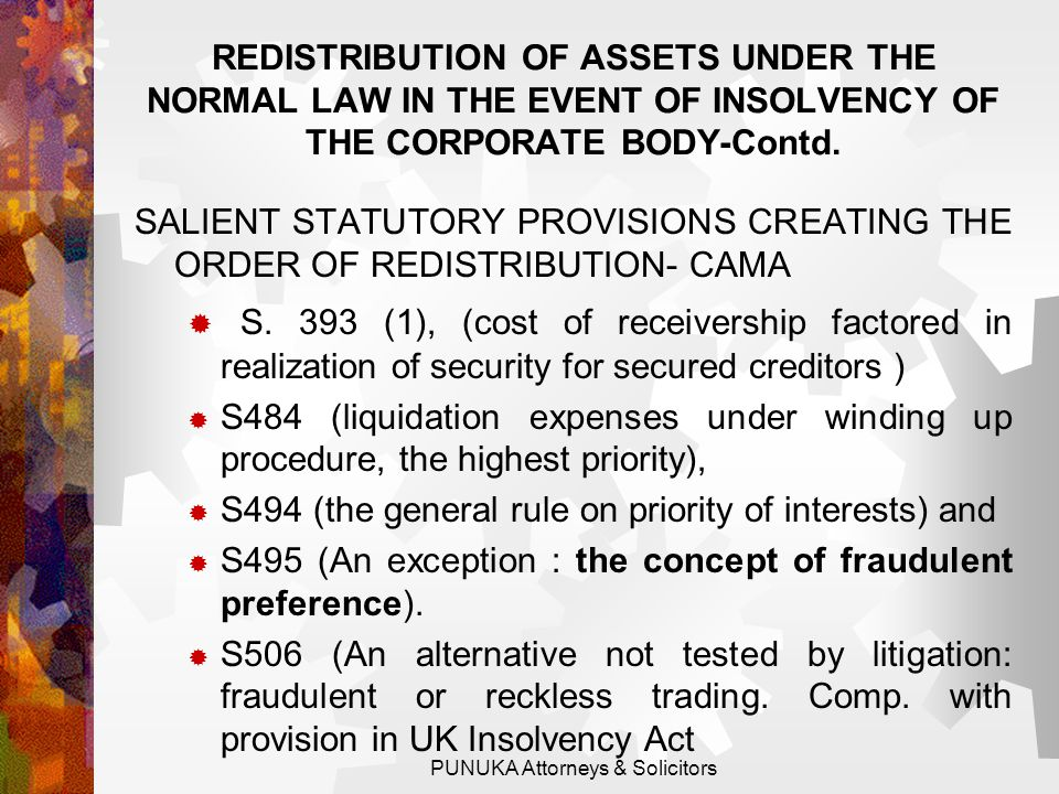REDISTRIBUTION OF ASSETS UNDER THE NORMAL LAW IN THE EVENT OF INSOLVENCY OF CORPORATE BODY  A Direct Holding or Certificated Securities System.