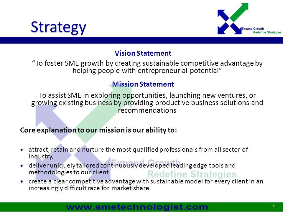 Strategy Business Values: a Management by Objective Values for Customer  Service Utility  Service Quality  Service Satisfaction Values for SME Technologist (Employees)  Organization Belongingness  Empowerment & Knowledge enhancement Values for Associates & Partners  Economic Values  Increased Market Share 10