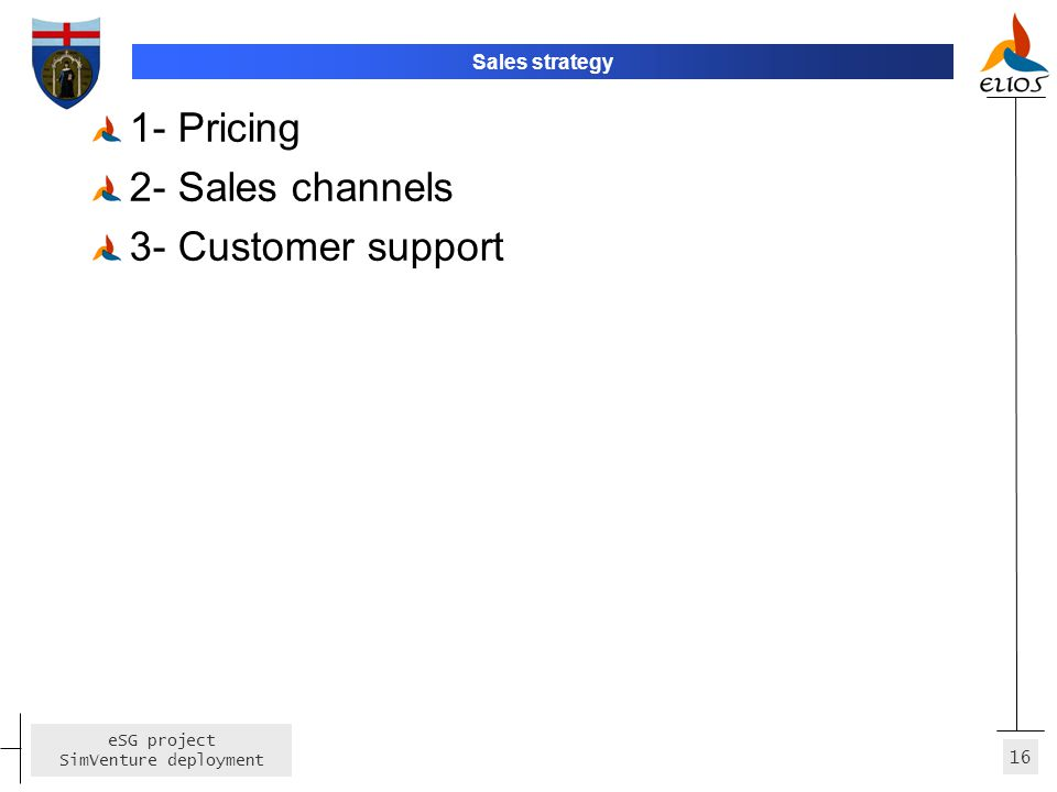 16 eSG project SimVenture deployment Sales strategy 1- Pricing 2- Sales channels 3- Customer support