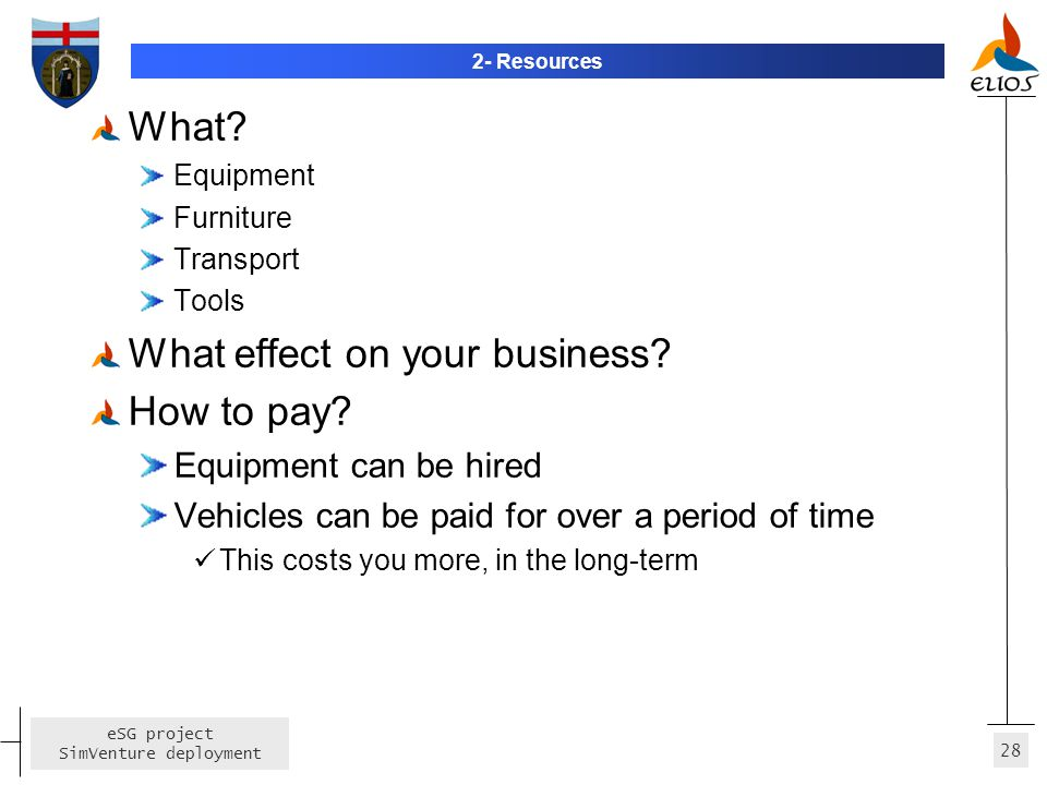 28 eSG project SimVenture deployment 2- Resources What? Equipment Furniture Transport Tools What effect on your business? How to pay? Equipment can be