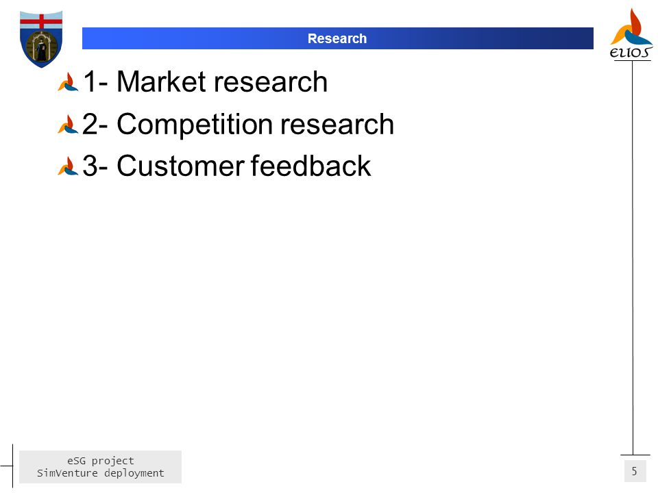 5 eSG project SimVenture deployment Research 1- Market research 2- Competition research 3- Customer feedback