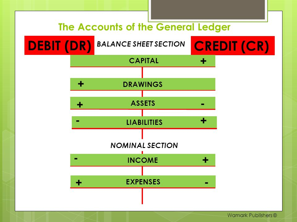 The Accounts of the General Ledger BALANCE SHEET SECTION DEBIT (DR) CREDIT (CR) CAPITAL DRAWINGS ASSETS INCOME EXPENSES NOMINAL SECTION + - + + + + LI