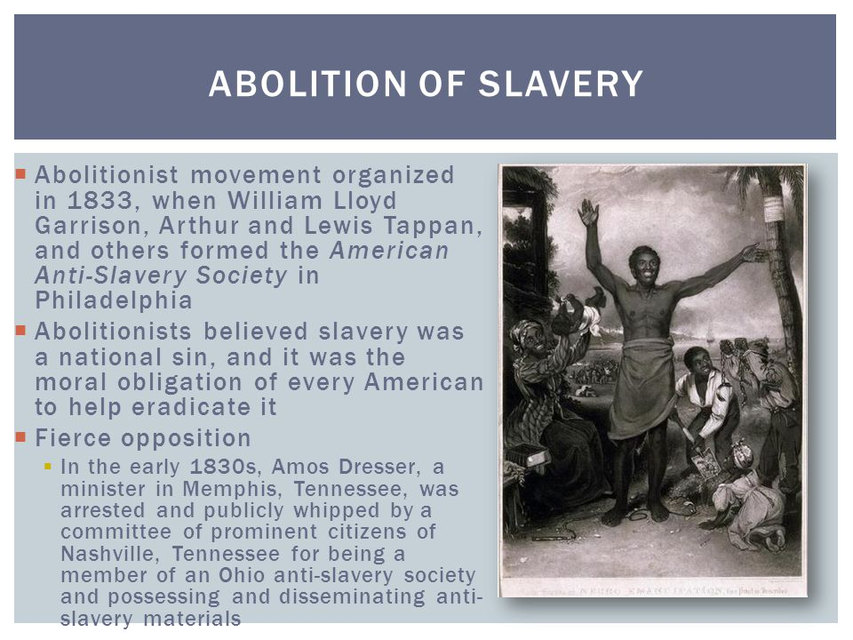  Abolitionist movement organized in 1833, when William Lloyd Garrison, Arthur and Lewis Tappan, and others formed the American Anti-Slavery Society i