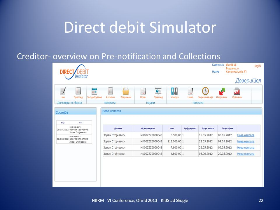 Direct debit Simulator NBRM - VI Conference, Ohrid 2013 - KIBS ad Skopje22 Creditor- overview on Pre-notification and Collections