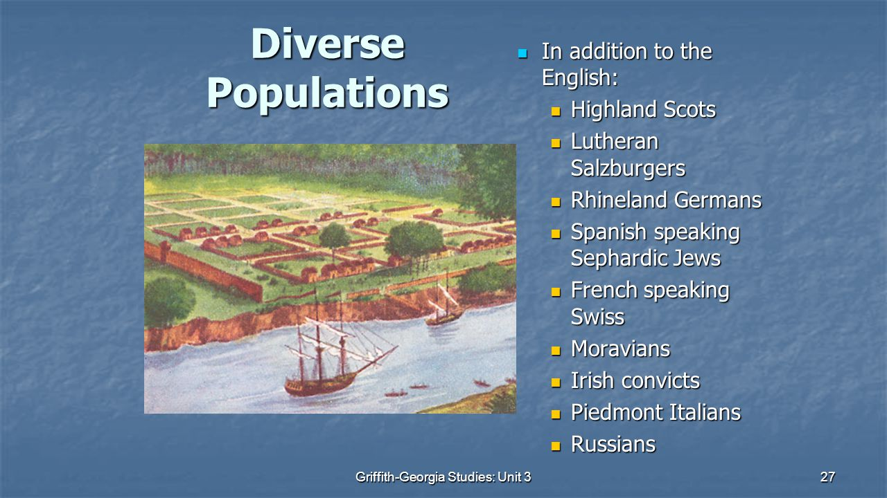 27 Diverse Populations In addition to the English: In addition to the English: Highland Scots Highland Scots Lutheran Salzburgers Lutheran Salzburgers Rhineland Germans Rhineland Germans Spanish speaking Sephardic Jews Spanish speaking Sephardic Jews French speaking Swiss French speaking Swiss Moravians Moravians Irish convicts Irish convicts Piedmont Italians Piedmont Italians Russians Russians Griffith-Georgia Studies: Unit 3