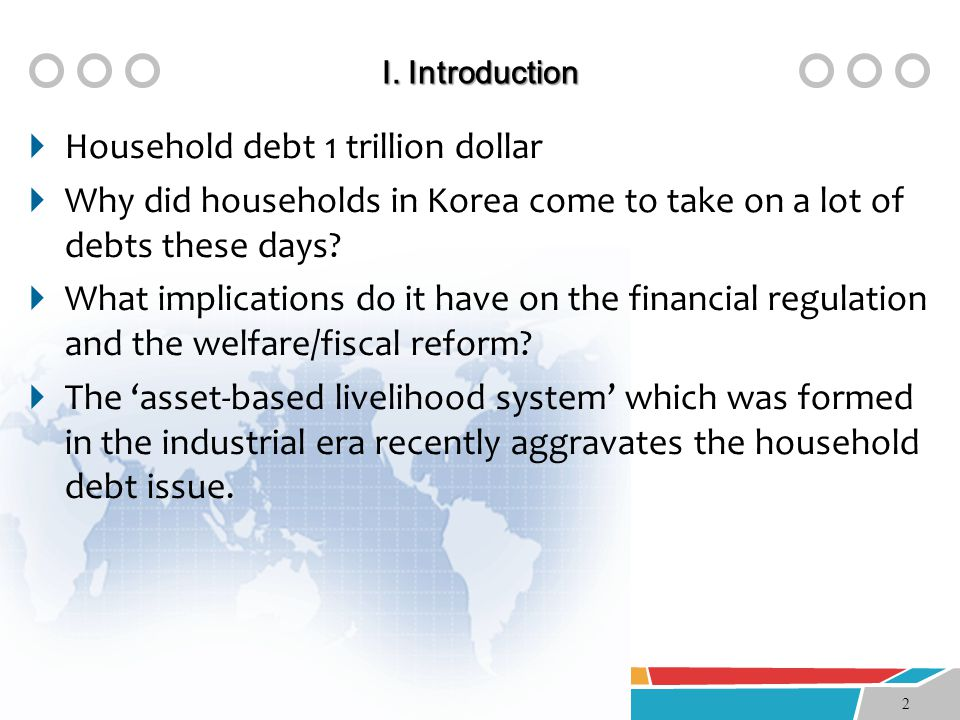 Ⅰ. Introduction  Household debt 1 trillion dollar  Why did households in Korea come to take on a lot of debts these days?  What implications do it