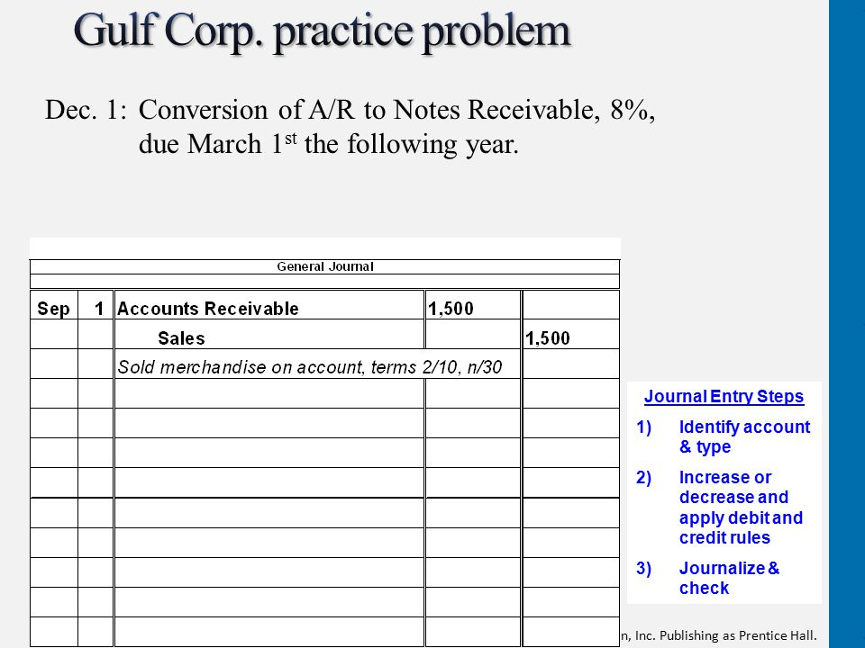 Copyright © 2012 Pearson Education, Inc. Publishing as Prentice Hall. Dec. 1: Conversion of A/R to Notes Receivable, 8%, due March 1 st the following