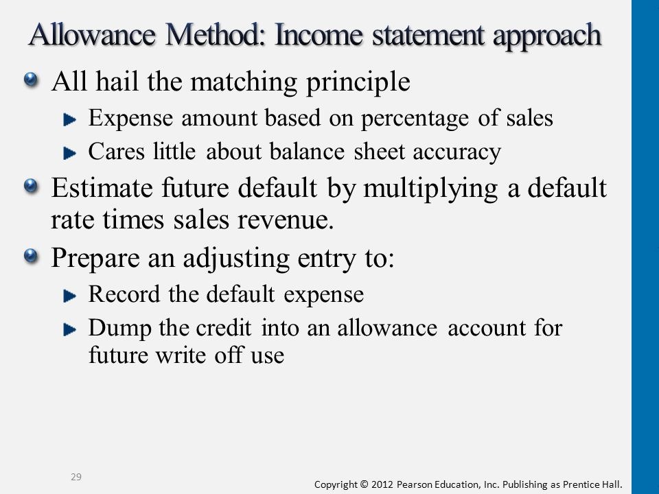 Copyright © 2012 Pearson Education, Inc. Publishing as Prentice Hall. All hail the matching principle Expense amount based on percentage of sales Care