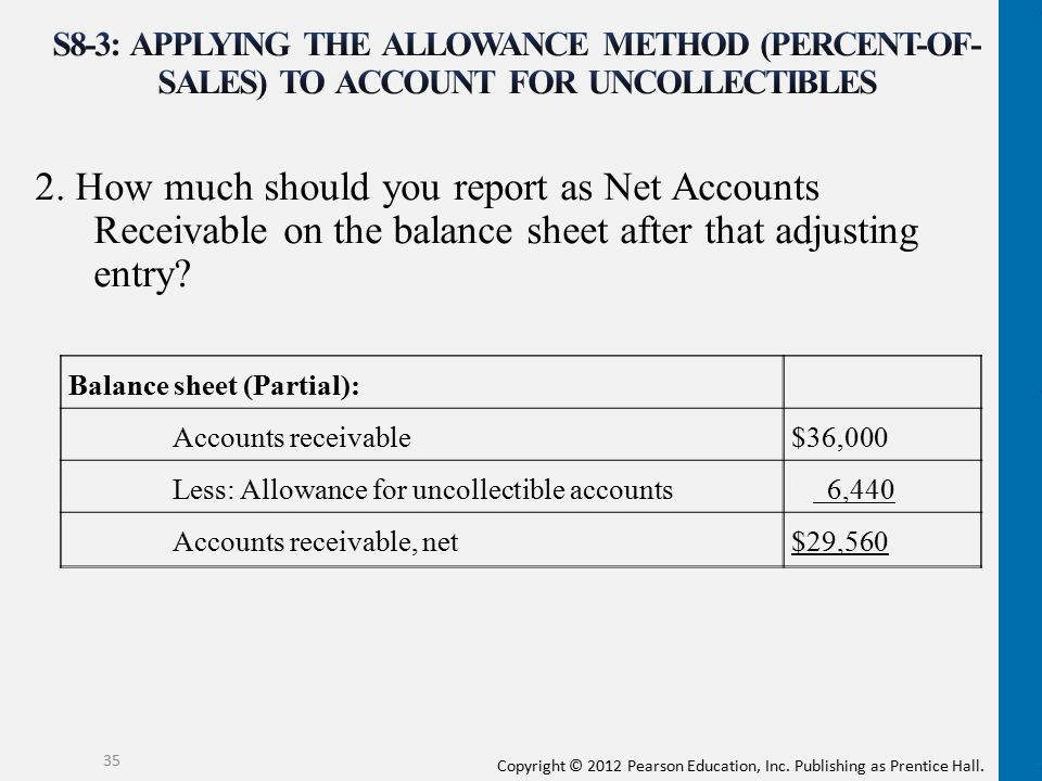 Copyright © 2012 Pearson Education, Inc. Publishing as Prentice Hall. 2. How much should you report as Net Accounts Receivable on the balance sheet af