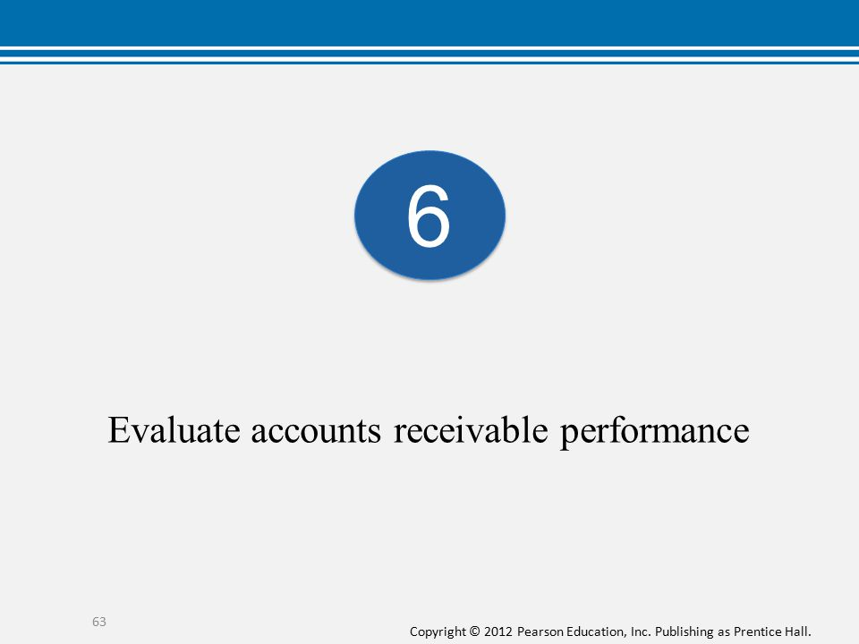 Copyright © 2012 Pearson Education, Inc. Publishing as Prentice Hall. Evaluate accounts receivable performance 63 6 6