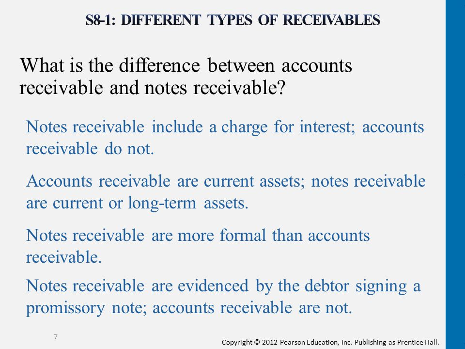 Copyright © 2012 Pearson Education, Inc. Publishing as Prentice Hall. What is the difference between accounts receivable and notes receivable? 7 Notes