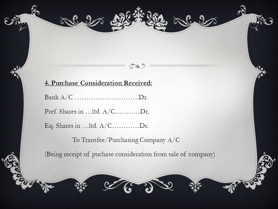 4. Purchase Consideration Received: Bank A/C ……………………….Dr.