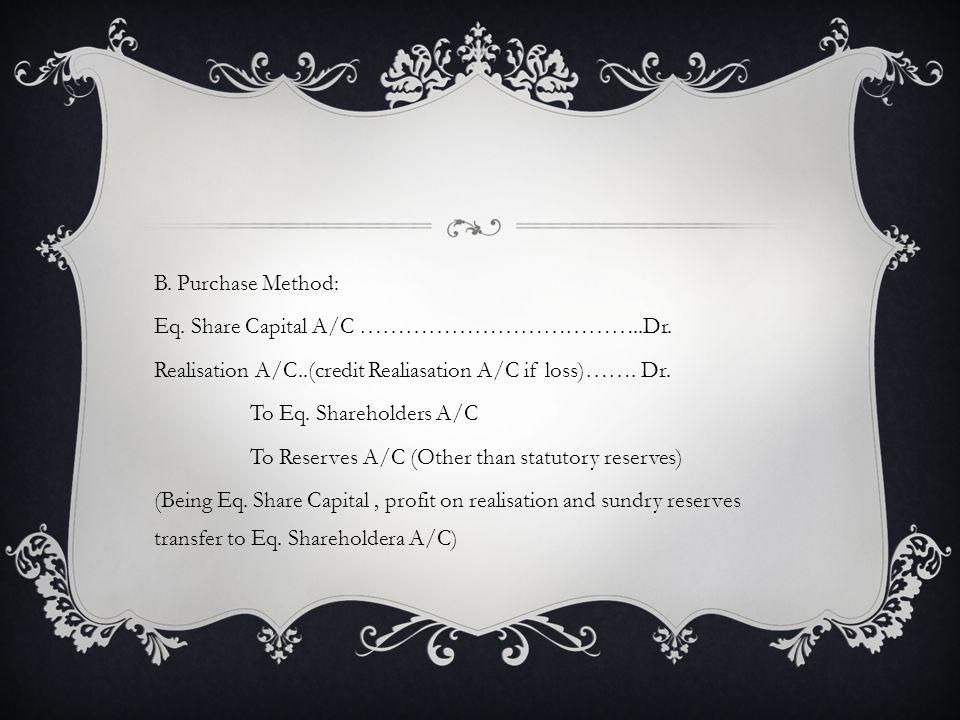 B.Purchase Method: Eq. Share Capital A/C ………………………………..Dr.
