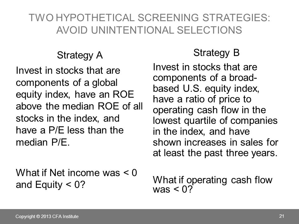TWO HYPOTHETICAL SCREENING STRATEGIES: AVOID UNINTENTIONAL SELECTIONS Strategy A Invest in stocks that are components of a global equity index, have an ROE above the median ROE of all stocks in the index, and have a P/E less than the median P/E.