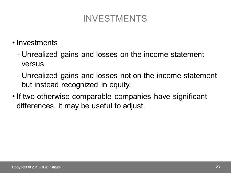 INVESTMENTS Investments -Unrealized gains and losses on the income statement versus -Unrealized gains and losses not on the income statement but instead recognized in equity.