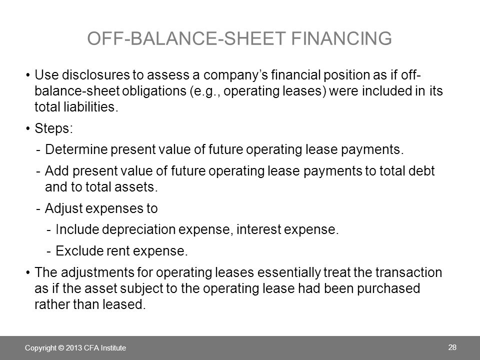 OFF-BALANCE-SHEET FINANCING Use disclosures to assess a company's financial position as if off- balance-sheet obligations (e.g., operating leases) were included in its total liabilities.