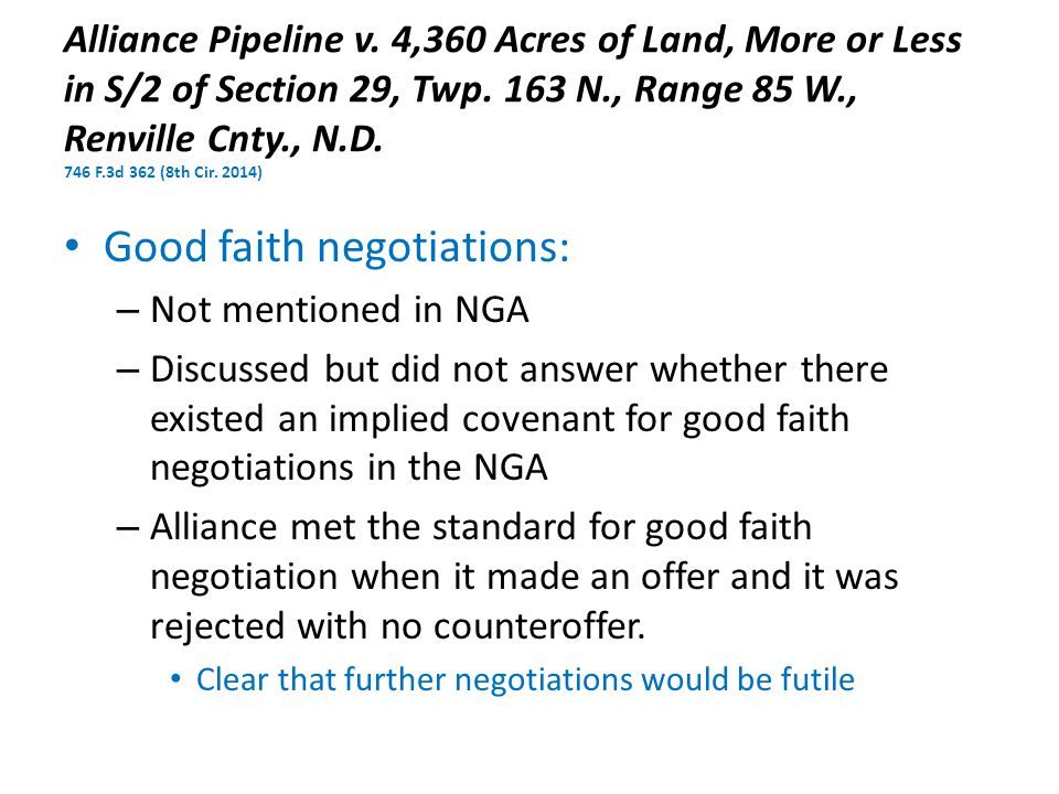 Alliance Pipeline v. 4,360 Acres of Land, More or Less in S/2 of Section 29, Twp.
