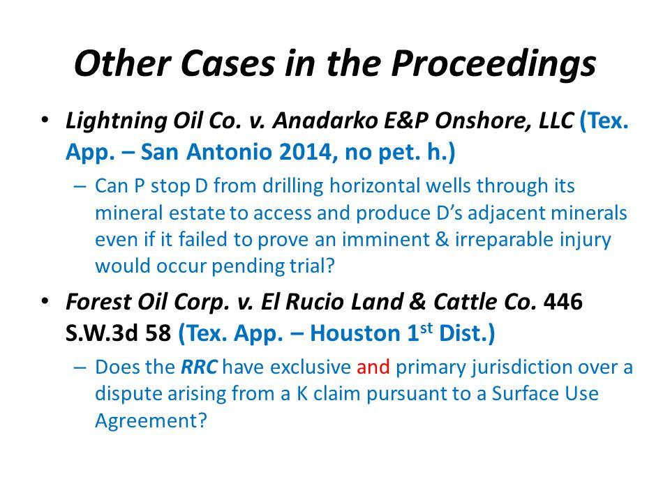Other Cases in the Proceedings Lightning Oil Co. v.