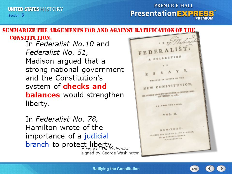 Chapter 25 Section 1 The Cold War Begins Section 3 Ratifying the Constitution In Federalist No.10 and Federalist No.