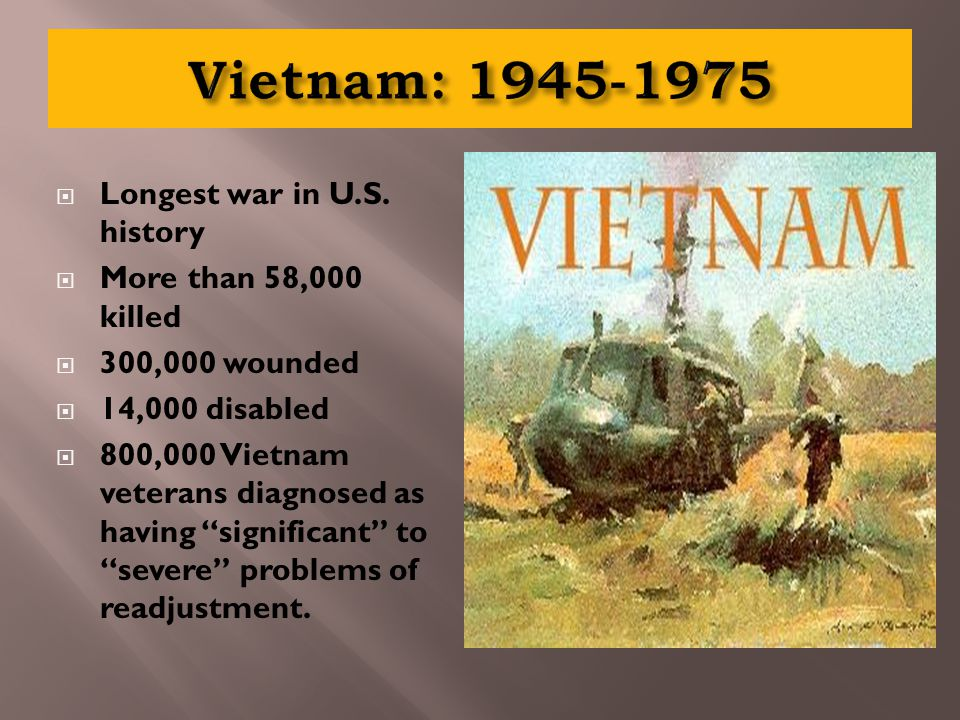 """ Longest war in U.S. history  More than 58,000 killed  300,000 wounded  14,000 disabled  800,000 Vietnam veterans diagnosed as having """"significan"""
