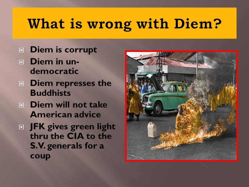  Diem is corrupt  Diem in un- democratic  Diem represses the Buddhists  Diem will not take American advice  JFK gives green light thru the CIA to the S.V.