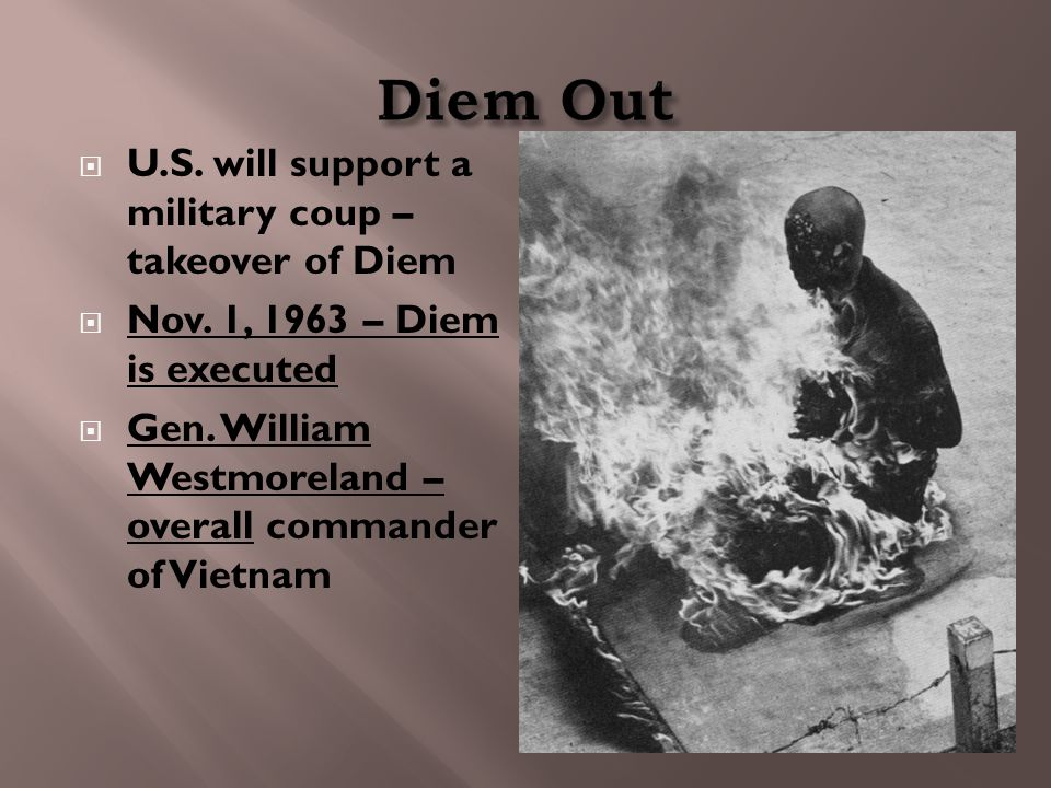  U.S. will support a military coup – takeover of Diem  Nov.