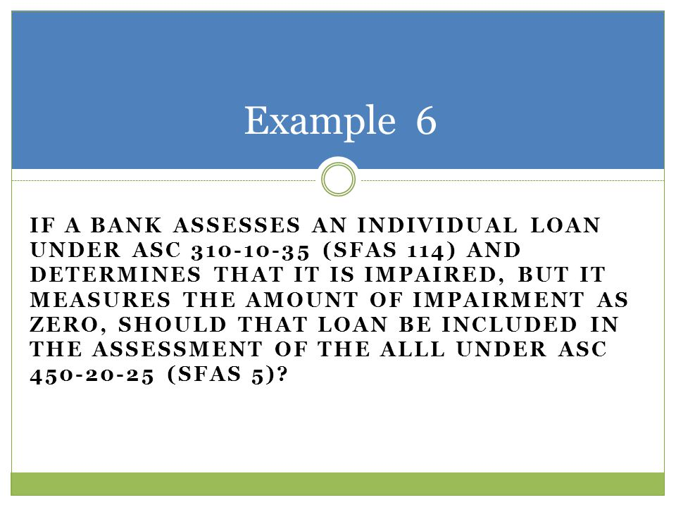 IF A BANK ASSESSES AN INDIVIDUAL LOAN UNDER ASC 310-10-35 (SFAS 114) AND DETERMINES THAT IT IS IMPAIRED, BUT IT MEASURES THE AMOUNT OF IMPAIRMENT AS Z