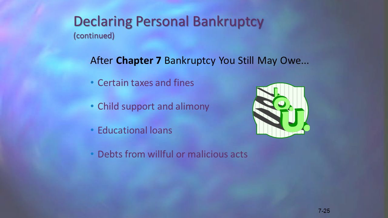 Declaring Personal Bankruptcy (continued) After Chapter 7 Bankruptcy You Still May Owe...