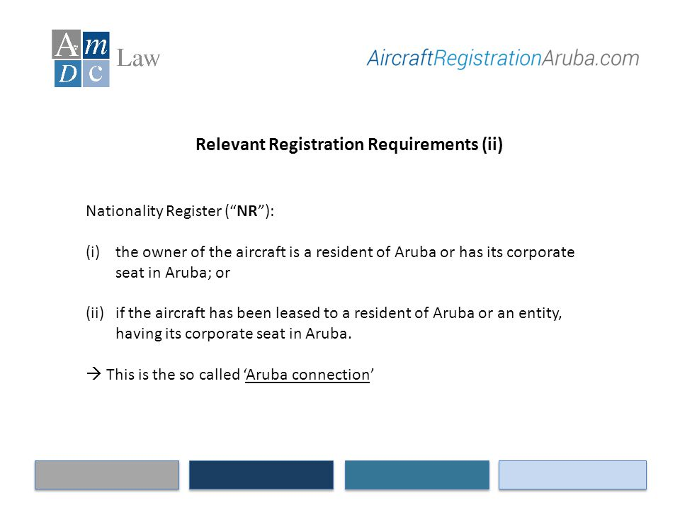 "Relevant Registration Requirements (ii) Nationality Register (""NR""): (i)the owner of the aircraft is a resident of Aruba or has its corporate seat in"