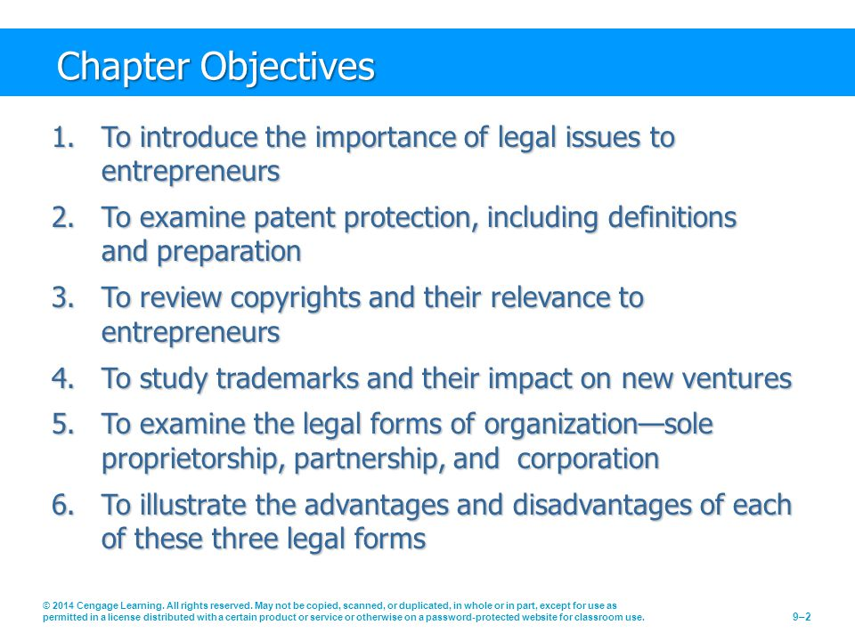 Chapter Objectives © 2014 Cengage Learning. All rights reserved. May not be copied, scanned, or duplicated, in whole or in part, except for use as per