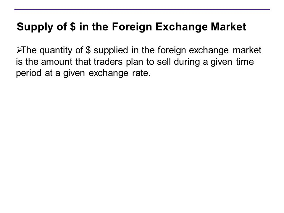 Supply of $ in the Foreign Exchange Market  The quantity of $ supplied in the foreign exchange market is the amount that traders plan to sell during