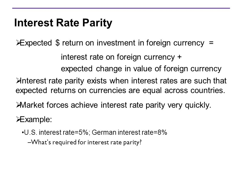 Interest Rate Parity  Expected $ return on investment in foreign currency = interest rate on foreign currency + expected change in value of foreign c