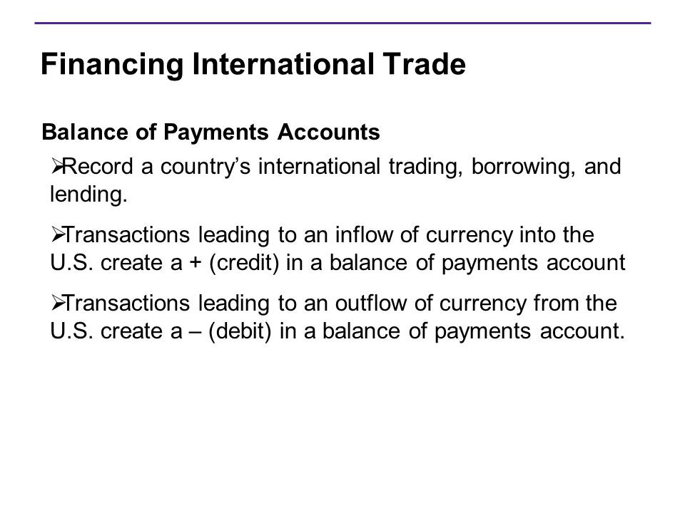 Financing International Trade Balance of Payments Accounts  Record a country's international trading, borrowing, and lending.  Transactions leading