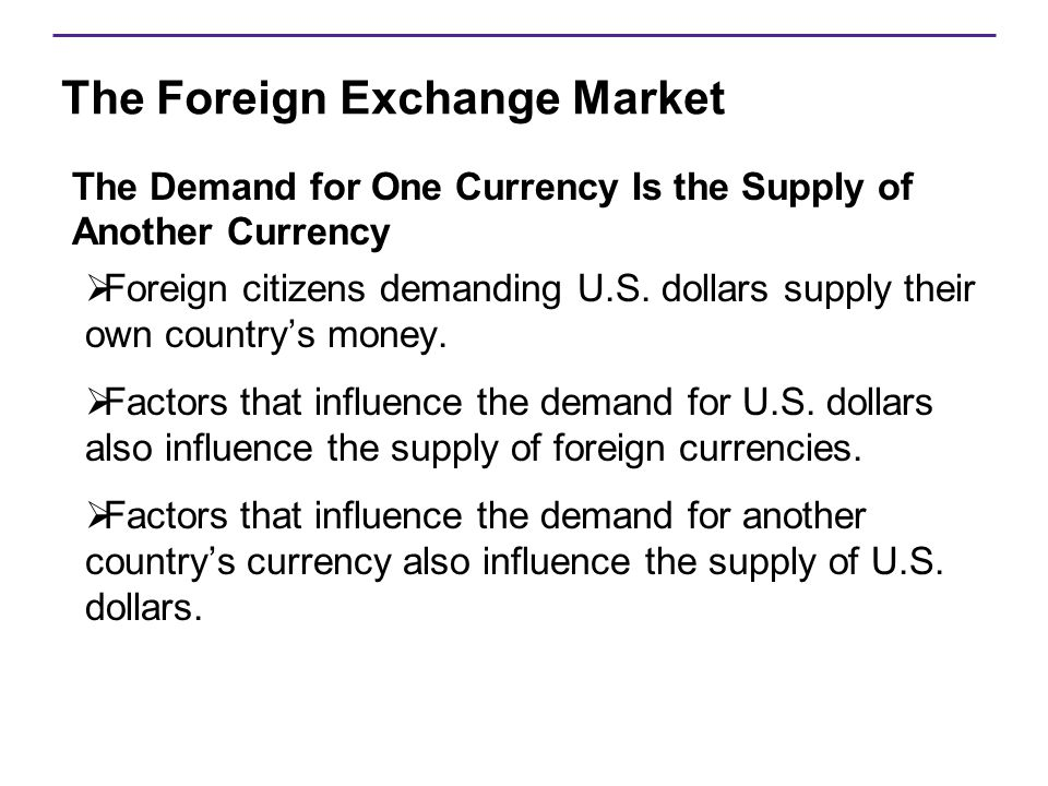 The Foreign Exchange Market The Demand for One Currency Is the Supply of Another Currency  Foreign citizens demanding U.S. dollars supply their own c