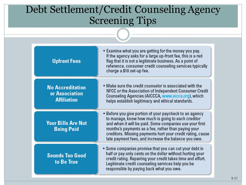 8-15 Debt Settlement/Credit Counseling Agency Screening Tips