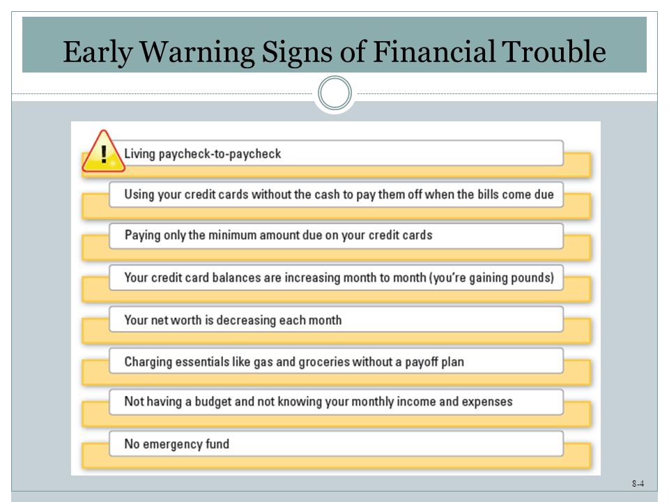 8-4 Early Warning Signs of Financial Trouble