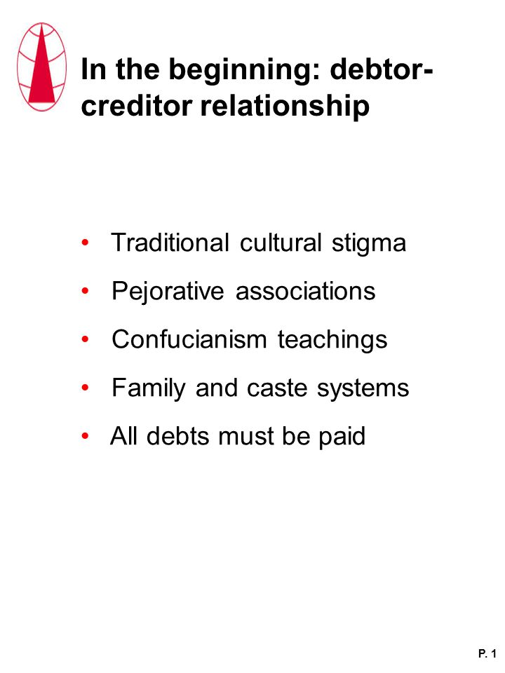 In the beginning: debtor- creditor relationship Traditional cultural stigma Pejorative associations Confucianism teachings Family and caste systems All debts must be paid P.